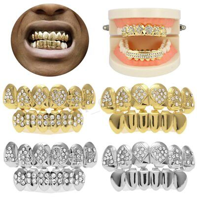 Hip Hop Gold Silver Plated Tooth Grills Teeth Rhinestone Diamond Cap Grill Party