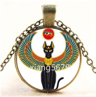 DIY Vintage Egyptian Cat With An Eye Cabochon Glass Bronze Pendant Necklace,