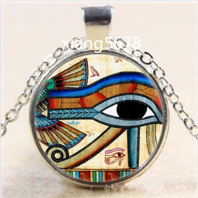 Egyptian EYE OF HORUS Cabochon Glass Tibet Silver Chain Pendant Necklace
