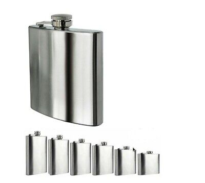 Pure Stainless Steel Hip Flask for Drinks Whiskey Vodka Liquor 5 - 10 oz