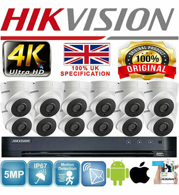 Hikvision 8Mp Cctv System 4K Ultrahd 8Ch 16Ch Outdoor 5Mp Security Camera Bundle
