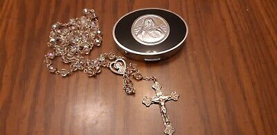 Antique Sterling Silver Faceted Crystal Glass Bead Rosary Crucifix Necklace