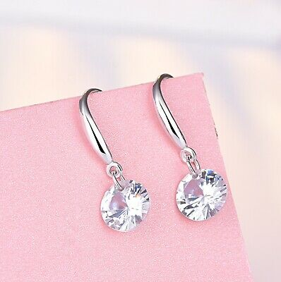 Crystal Stone Drop Hook Stud Earrings 925 Sterling Silver Womens Girls Jewellery