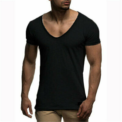 Men's T-Shirt Short Sleeve Plain Slim Fit Fitness Basic Tee Muscle Tops Casual