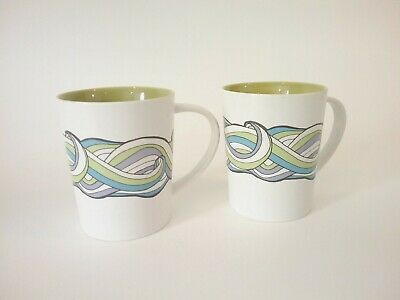 2 -Starbucks 2010 Bone China Porcelain Coffee Mug 16Oz  Retro color wave Style
