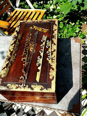 Large Brass  Bound   rosewood writing Slope  For  Restoration  great prodject