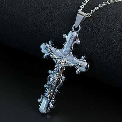 White Gold Filled Cross Pendant Necklace Link Chain Metal Hip Hop Jewelry Gifts