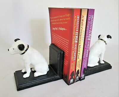 Pair of Cast Metal CD / DVD / Bookends in the form of Nipper the HMV Dog