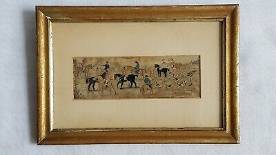 Antique Stevengraph The Meet Woven Silk Embroidery Picture