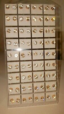 Joblot of 36 Pairs clear round Gold colour 6mm Crystal stud Earrings - wholesale