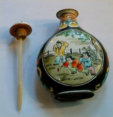 Old Oriental Snuff / Scent Bottle Enamel.  Perfect Order,No Chips +Top+Spoon