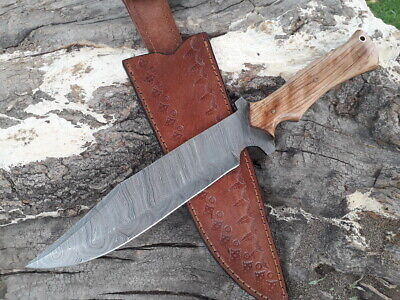 Custom Made Damascus Steel Full Tang Hunting Knife Bowie, Kay Knives
