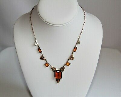 Feminine Vintage Art Deco Style Czech Amber Glass Stamped Brass Necklace