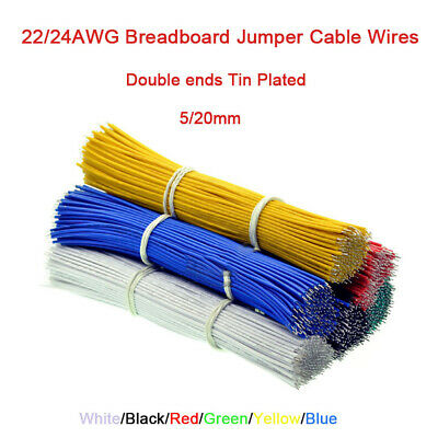 22/24AWG Breadboard Jumper Cable Wires Dual-Head Tin Plated 5/20mm 6 Colors