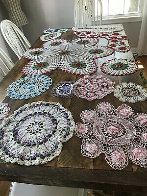 VINTAGE HAND CROCHETED DOILY PINK GREEN Red LOT OF 13 DOILIES Shabby Cottage