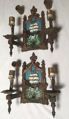Antique Nautical Figural Sconces with Ships & Ocean, Signed Lowry Electric Co.