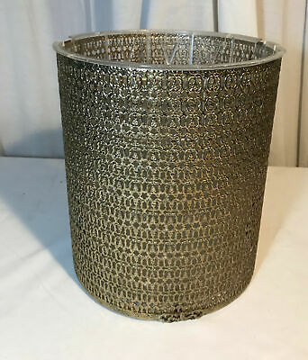 Vintage MCM Gold Tone Metal Wire Mesh Trash Can w/ Plastic Liner Waste Basket