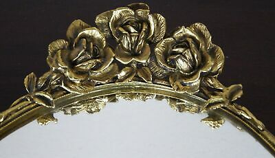 Vintage Ormolu Gilded Bronze Mirrored Oval Vanity Tray With Rose Handles 20.75""