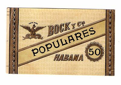 "Old Cigar Label, Lateral, ""Bock Y Cª""  Populares 50"
