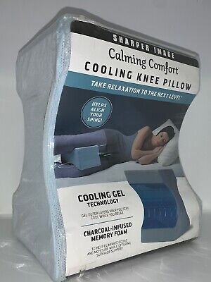 Calming Comfort Cooling Knee Pillow by Sharper Image- Charcoal Infused Memory...