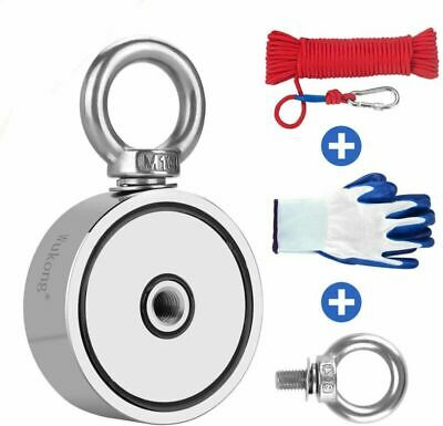 Fishing Magnet with 66ft Rope /& Glove 67mm Diameter LNM67-2 760LB Pulling Force Super Strong Neodymium Magnet with Heavy Duty Rope /& Carabiner for Magnet Fishing and Retrieving in River