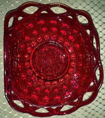 Vintage Ruby Red Glass Dish Intricate Design  Maybe Carnival Heirloom Excellent