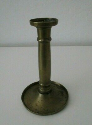 "Antique Hog Scraper Brass Candlestick Holder 6 3/4"" Late 18th Century Early 19th"
