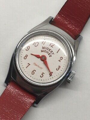 Vintage 1960s Ingersoll Mickey Mouse Mechanical Wrist Watch Disney US Time Works