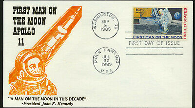 C76 Moon Landing Cachet 1969 Dual Cancel Unaddressed First Day Cover LOT 1243