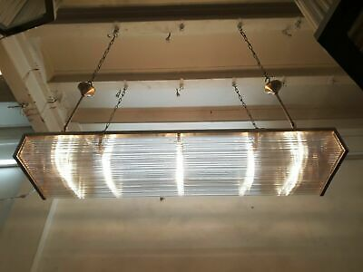 Antique Vintage Art Deco Brass & Glass Rod Ceiling Fixture Chandelier Light Lamp