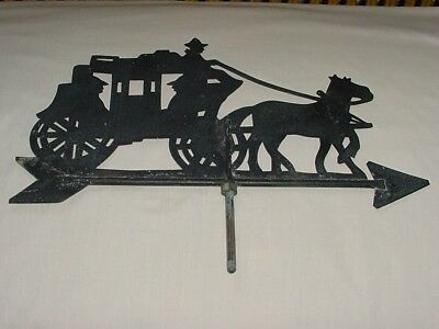 Vintage Weathervane Stage Coach & Horses On Arrow