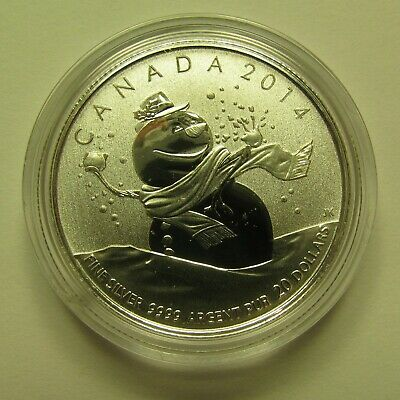 2014 Specimen $20 for $20 #14-Snowman Canada .9999 silver COIN ONLY twenty dolla