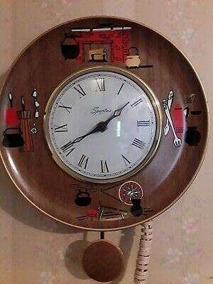 Sparticus Midcentury  Clock metal  W  Scenes Retro New Old Stock was stored away