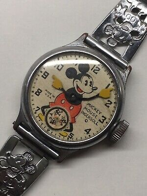 Vintage 1930s Ingersoll Mickey Mouse Wrist Watch Wind Up Mechanical Disney 1935