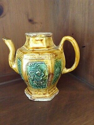 Antique Chinese small glazed earthenware pitcher or teapot, 6 sided