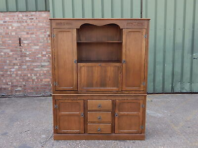Stunning solid oak dresser wall unit with drinks bar cabinet drawers & cupboards