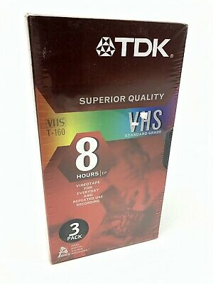 TDK Superior Quality VHS T-160 8 Hours EP 3 Pack New Sealed