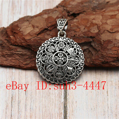 Chinese Hand Engraving Exquisite Copper Brass Buddha Pendant Hollow Amulet