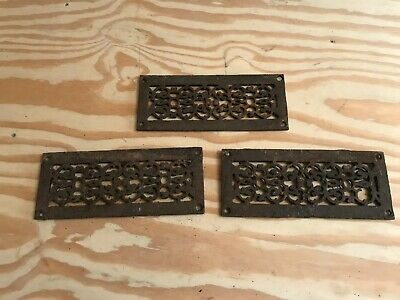Set of 3 Antique Vintage Grate Heat Air Return Register Vent Cast Iron Salvage