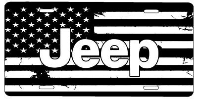 New Custom American Flag Solid Black And White Jeep Vanity License Plate #2