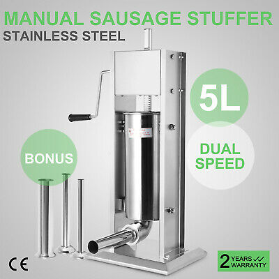 5L Sausage Stuffer Filler Stainlesss Steel 4 Tubes 15 Pound Meat Press kitchen