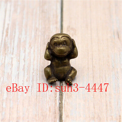Chinese Hand Engraving Exquisite Copper Brass Tiger Small Statue Ornament 貔貅