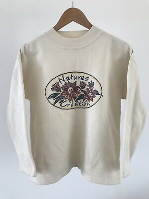 "Vintage 90s Cream Crew Neck Pullover ""Natures Creations"" Floral Jumper Size 12"