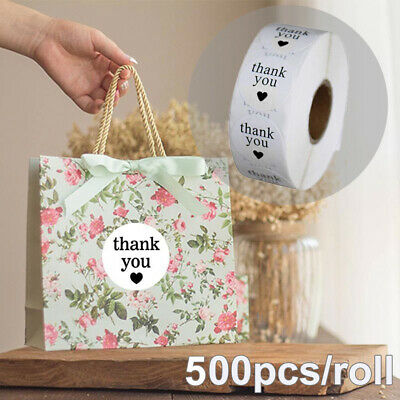 500pcs/roll Semi Gloss White Thank You Stickers Round Adhesive Labels TOP AU