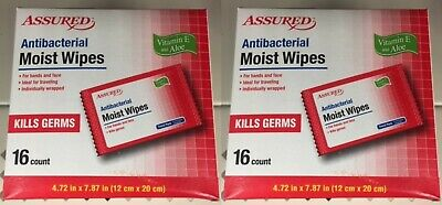 LOT~2 Assured Antibacterial Moist Wipes, 16-ct.Travel Packs Vitamin E with Aloe