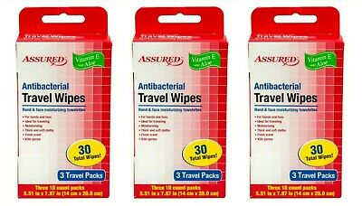 Lot of~3 Assured Antibacterial Wet Wipes, 3-ct. Travel Packs