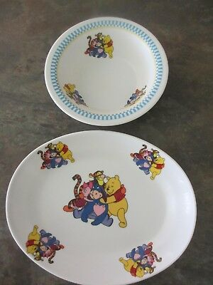 Winnie the Pooh melamine bowl and plate, good clean condition.