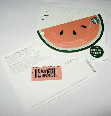*Starbucks 2019 Die-Cut Watermelon Star Mark Back Gift Card - #6168