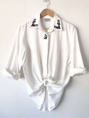 Vintage Katies White Embroidered Rose Floral Long Sleeve Button Up Shirt Size 14