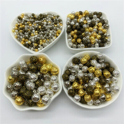 4/6/8/10/12/14/16mm Hollow Metal Spacer Beads Round Loose Beads Jewelry Findings